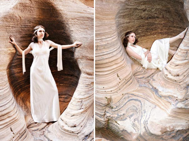 Bride poses in Zion National Park Canyon