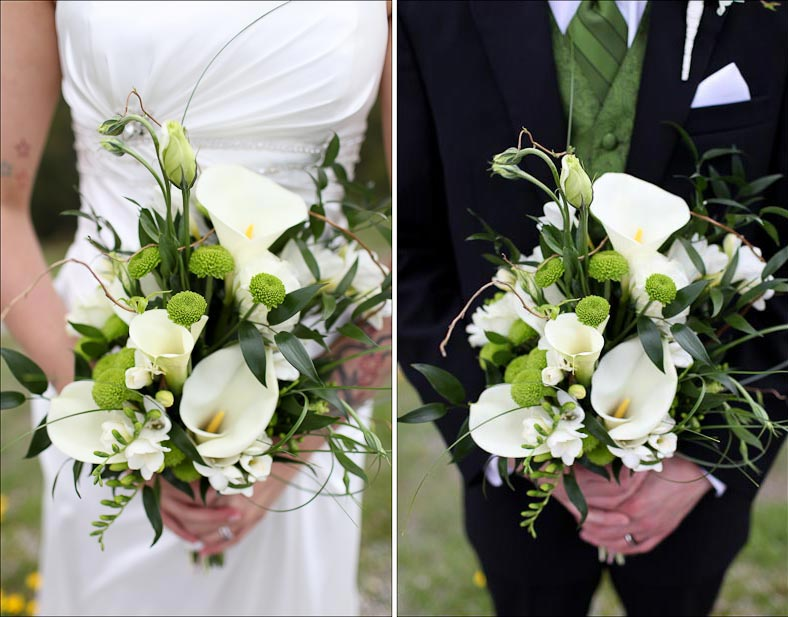 bride and groom hold a white bridal bouquet