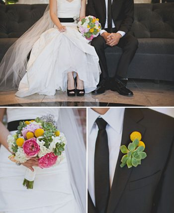 modern bride with colorful bouquet and black shoes