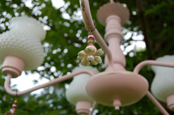 pretty chandelier painted pink