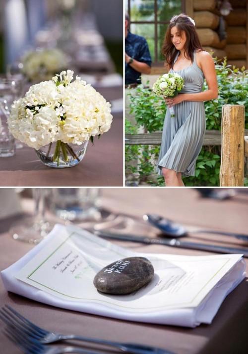 grey bridesmaid dress, river rocks, and white hydrangeas at rainbow tarns