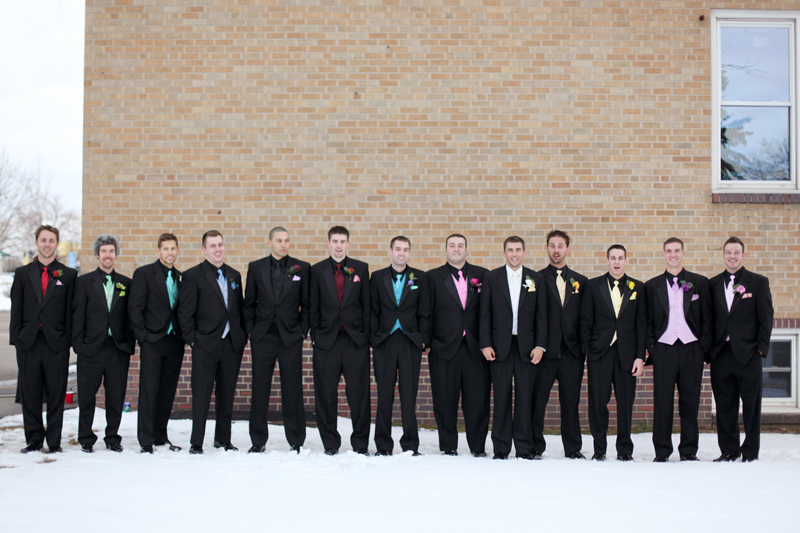 rainbow colored wedding groomsmen