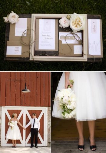 rustic bride with white bouquet and black shoes