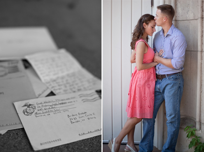 war bride engagement shoot with love letters