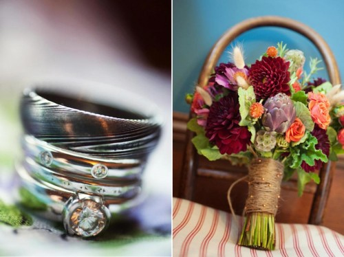 Rustic mountain style wedding rings and bouquet