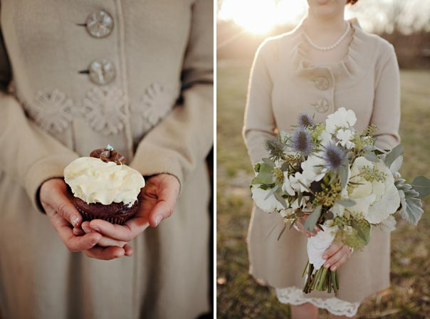 Asheville Elopement with bridal bouquet and cupcake
