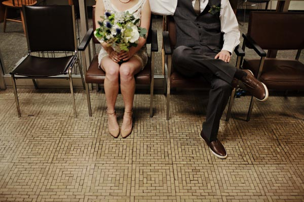Waiting to get married in the Asheville courthouse