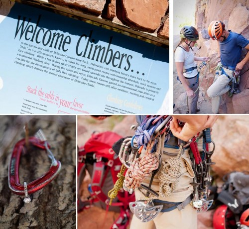 Climbing gear and engaged couple