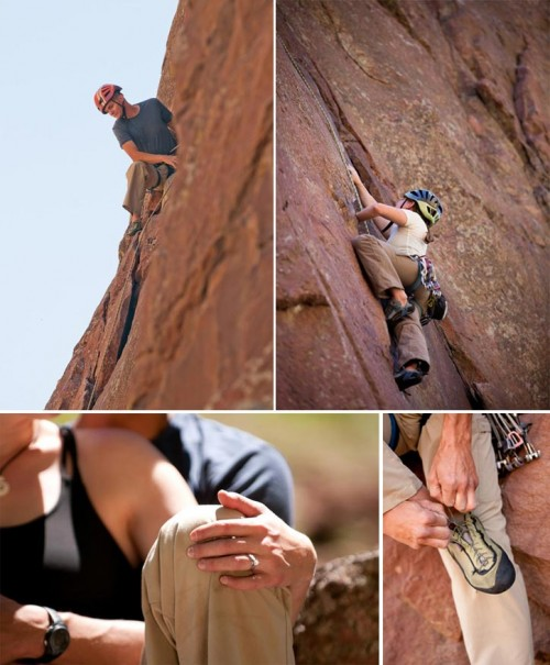 engaged couuple rock climbs together