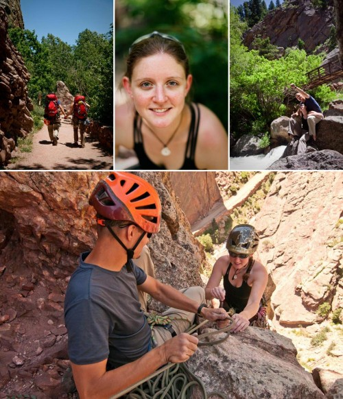 engaged rock climbing woman belayes her fiance