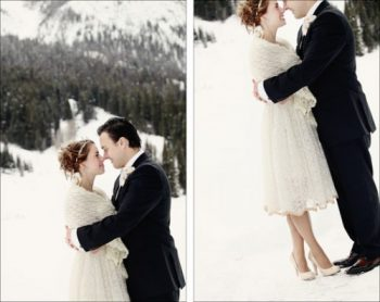 bride and groom kiss on a winter day