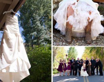 Bride in cowboy boots in Aspen Colorado Wedding