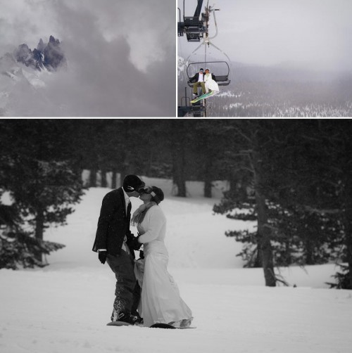 Bride and groom snowboarding on Mammoth Mountain