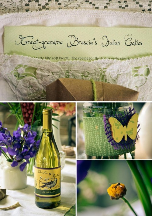 DIY wedding details including wine labels and cookie recipe