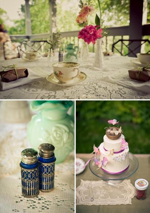 DIY wedding cake and vintage china