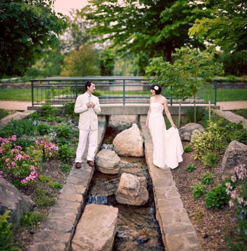 Hindsight bride and groom at the NC Arboretum