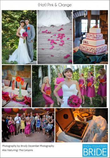 Hot pink and orange mountain wedding
