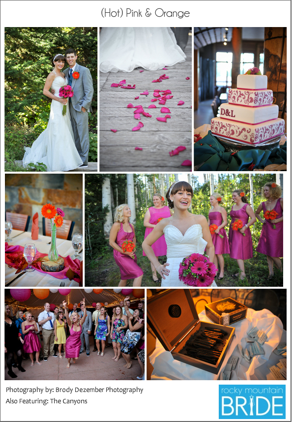 Hot pink and orange mountain wedding