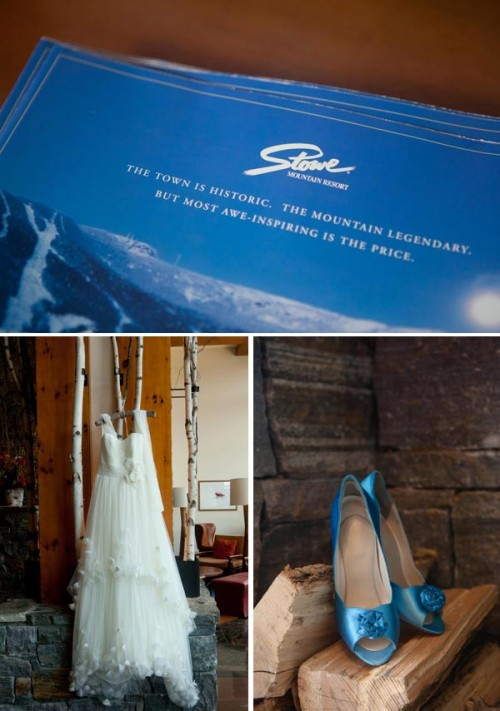 Stowe Vermont sign with Blue Wedding Shoes and Wedding Dress