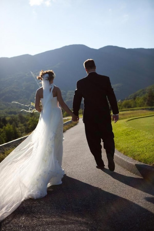 Mountain bride and groom exit