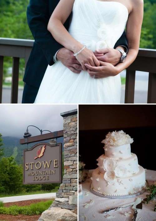 vermont wedding cake and wooden Stowe sign