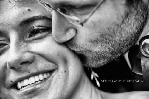 closeup black and white of a bride and groom in love