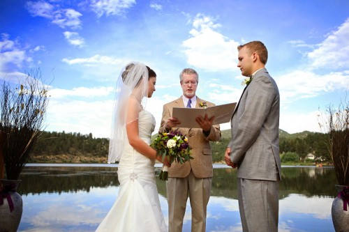 Colorado wedding ceremony by a Mountain Lake