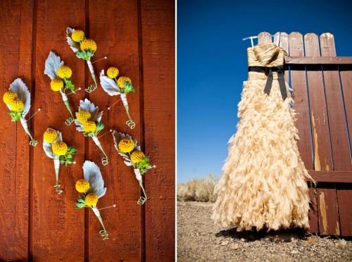 cream colored wedding dress with black sash