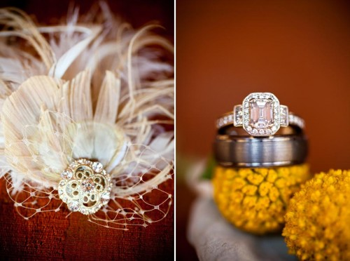 yellow and feather wedding details