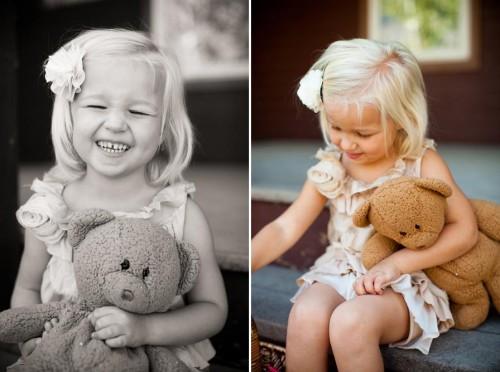flower girl with a teddy bear