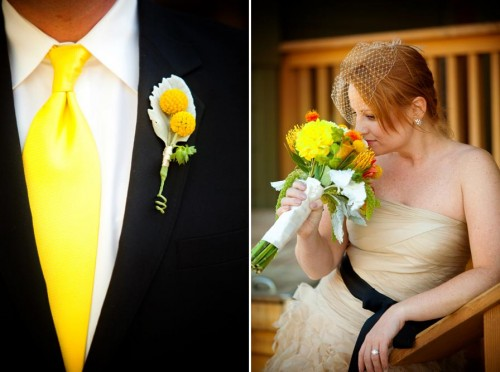 Bright yellow bridal bouquet and boutonniere