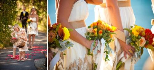 yellow bridesmaids flowers