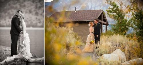 Bridal portrait near a rustic lodge