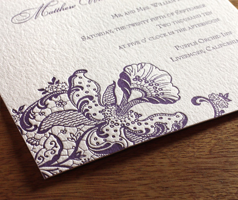 Orchid Ajalon wedding Invitation closeup