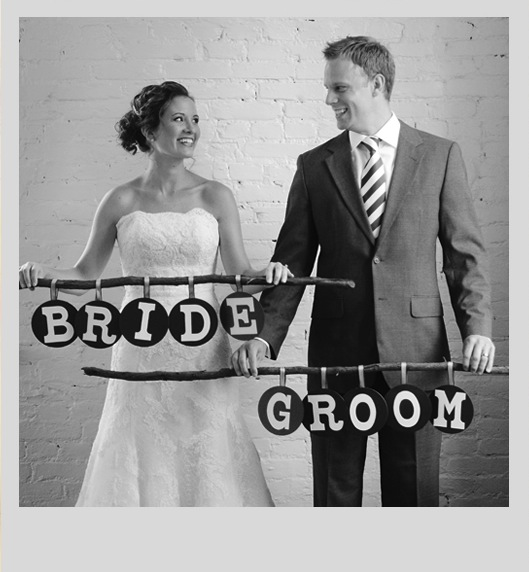 rustic mid century modern bride and groom signs