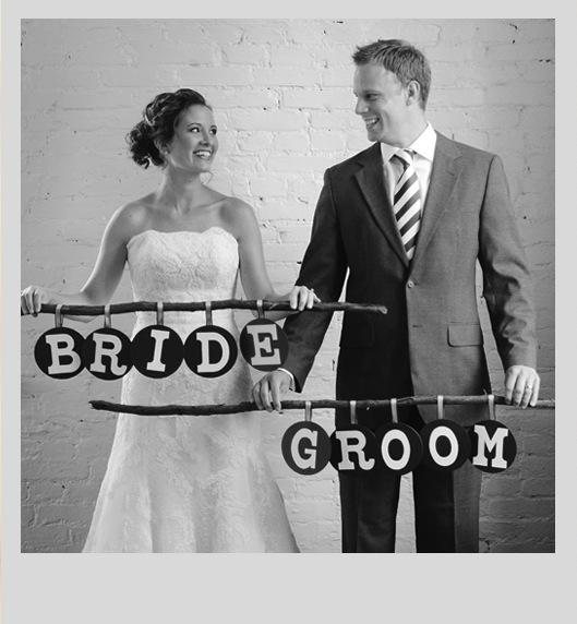 rustic mid century modern bride and groom signs