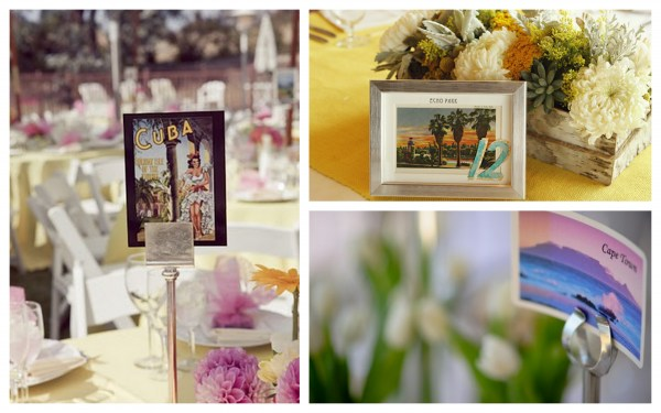 postcard table numbers for travel themed weddings