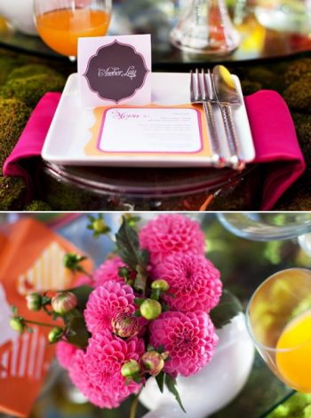 Hot pink wedding flowers and placecards