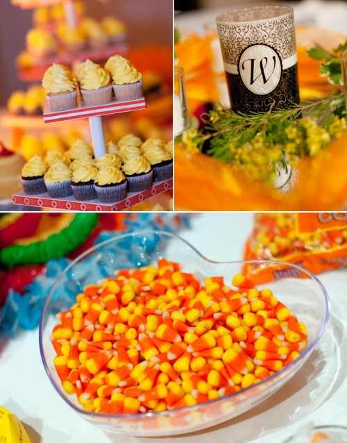 Orange candy corn and yellow cupcakes