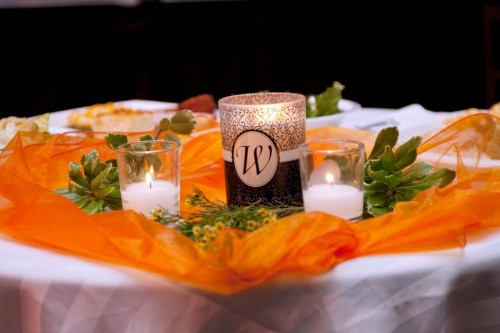 Orange and brown wedding centerpieces