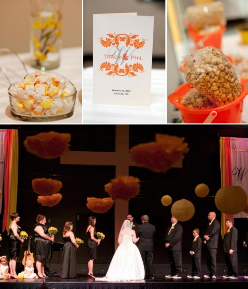 asheville wedding ceremony with orange candy details