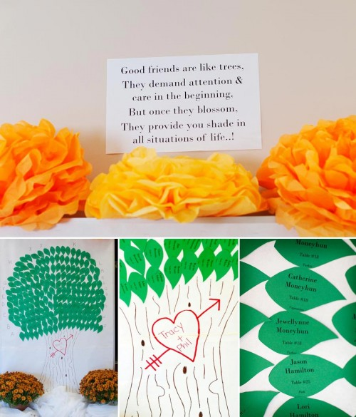 DIY tissue poms and tree guest book