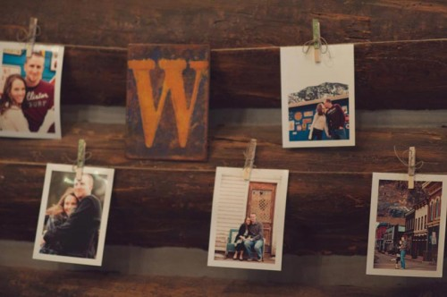 memory wall at a rustic Aspen wedding