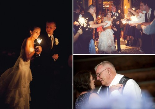 Parents dance and wedding exit with sparklers