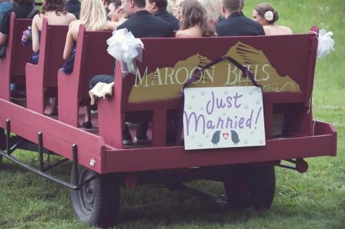 wagon ride at an Aspen Wedding