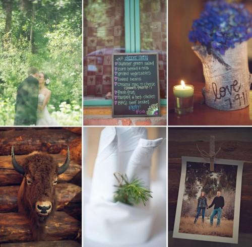 purple, green and white Aspen wedding details