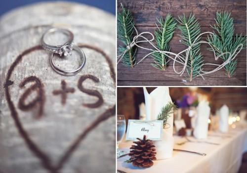 pine and birch wedding details