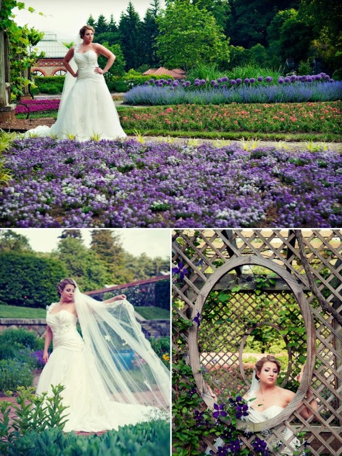 Bride stands in purple flower garden at the Biltmore