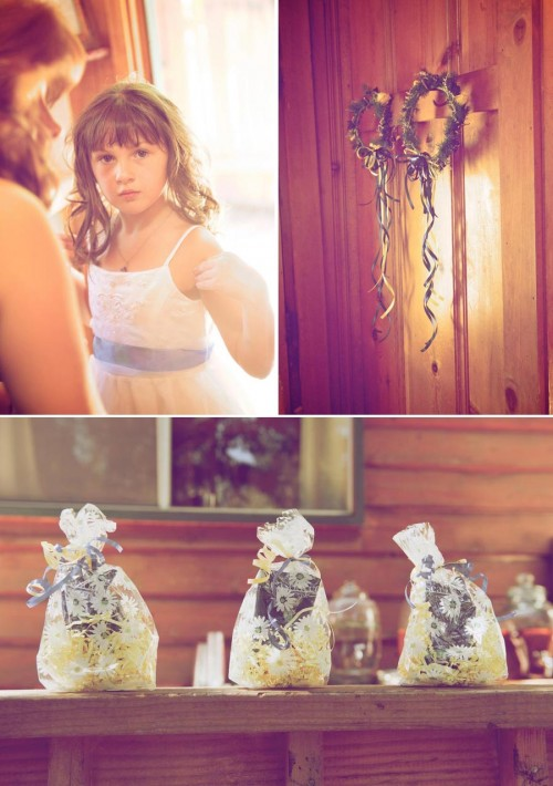 flower girl and favors