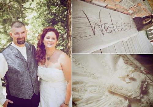 rustic welcome sign at twin peaks wedding